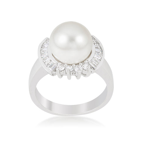 Nelly Pearl Baguette CZ Ring | .8ct