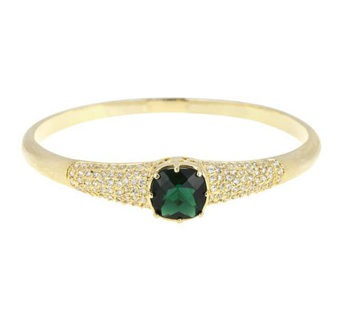 Danette Emerald Green Goldtone Fashion Bracelet