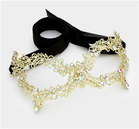 Daniel Filigree Vine Masquerade Mask | Gold | Crystal - Beloved Sparkles  - 2