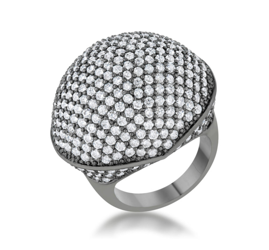 Dara CZ Hematite Dome Cocktail Ring | 6.5ct |Cubic Zirconia - Beloved Sparkles  - 1