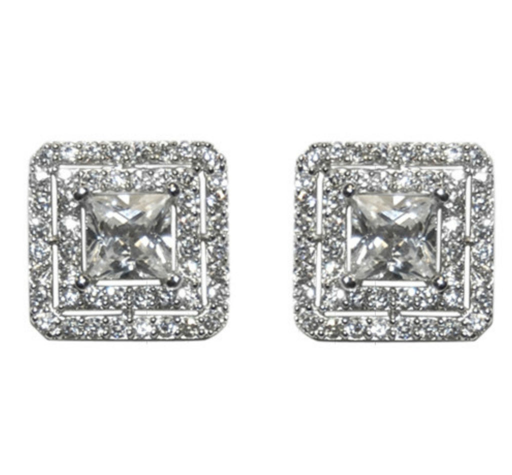 emerald diamond illusion watch gold white cut face stud carat square earrings