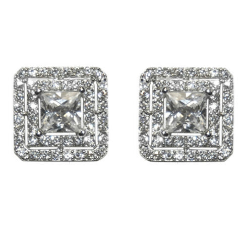Darice Princess Cut Halo Stud Earrings | Cubic Zirconia | Silver