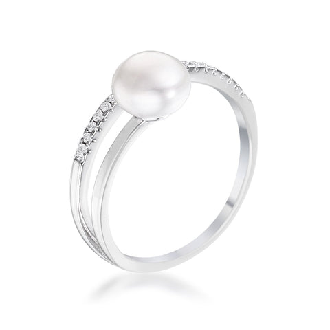 Darva Freshwater Pearl with CZ Ring | 0.2ct | Cubic Zirconia