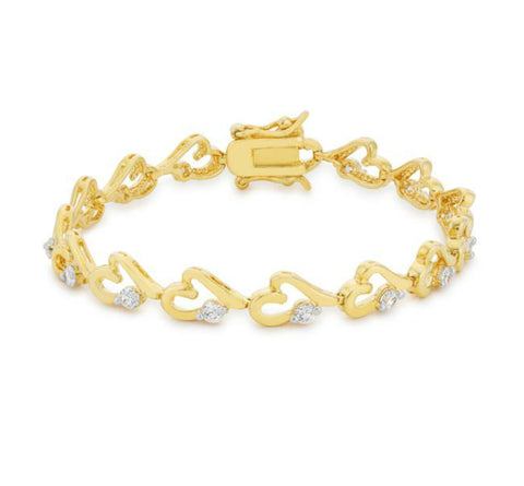 Debra Linked Hearts 18k Gold Tennis Bracelet  - 7.25in