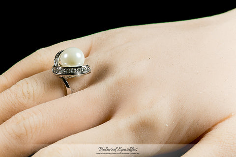 Deja Ribbon Wrap CZ Pearl Ring | 2ct