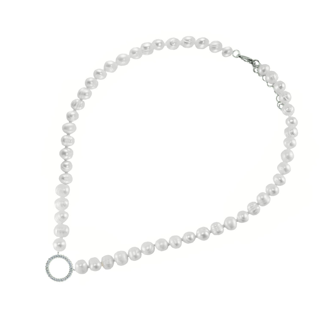 Delana CZ Silver Circle Fresh Water Pearl Necklace – 7mm