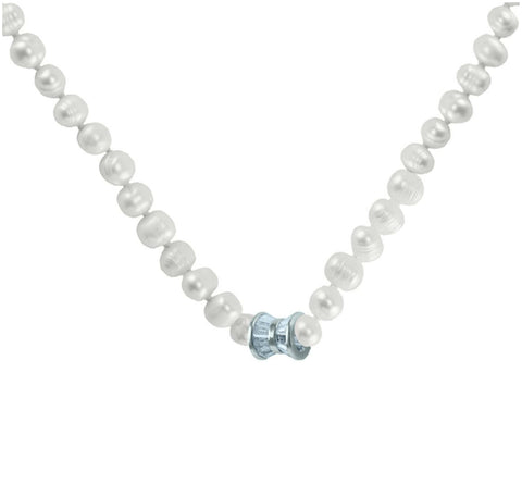 Delanah CZ Silver Ribbon Fresh Water Pearl Necklace – 7mm