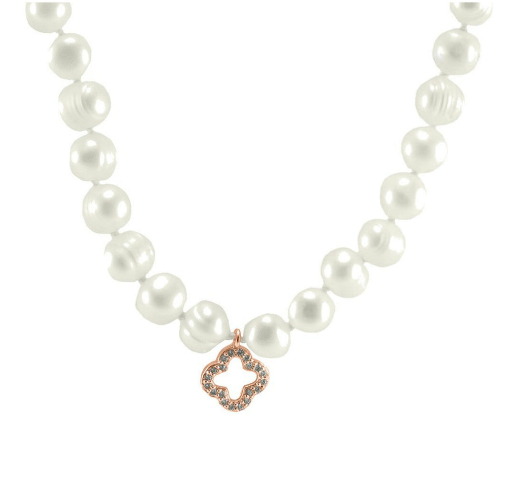 Dell CZ Rose Gold Clover Fresh Water Pearl Necklace – 7mm