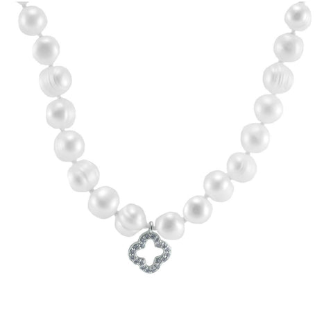 Dell CZ Clover Pearl Necklace