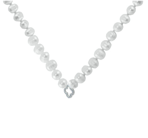 Dell CZ Silver Clover Fresh Water Pearl Necklace – 7mm