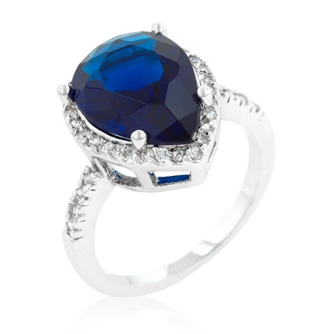 Della Pear Cut Sapphire Halo Cocktail Ring | 7.5ct | Cubic Zirconia - Beloved Sparkles  - 2