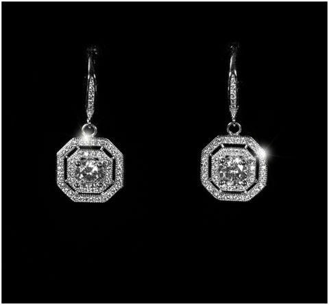 Dena Double Halo Octogon Drop Earrings | 1.75 Carat | Cubic Zirconia