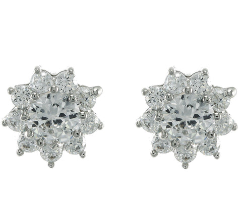 Denes Halo CZ Stud Earrings | Cubic Zirconia | Silver