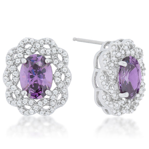 Destry Amethyst Oval Cluster Stud Earrings