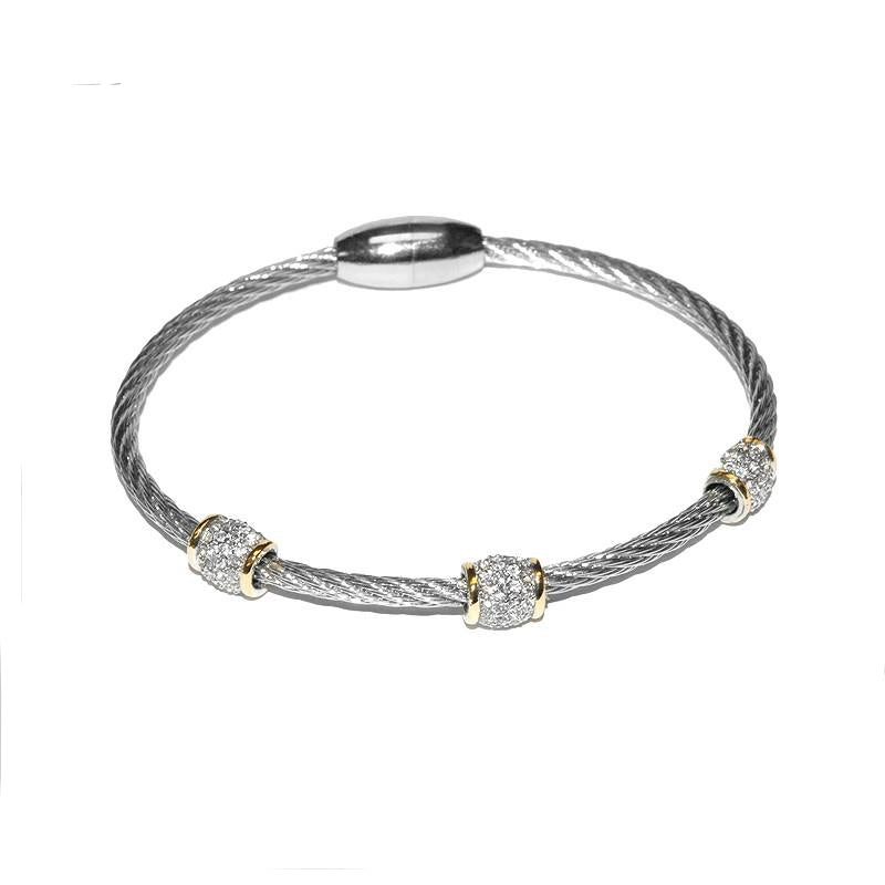 Diedre Crystal Charm Silver Wire Magnetic Bracelet