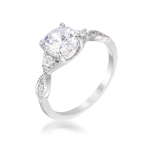 Domini Silvertone Classic Vine Engagement Ring | 1.5ct