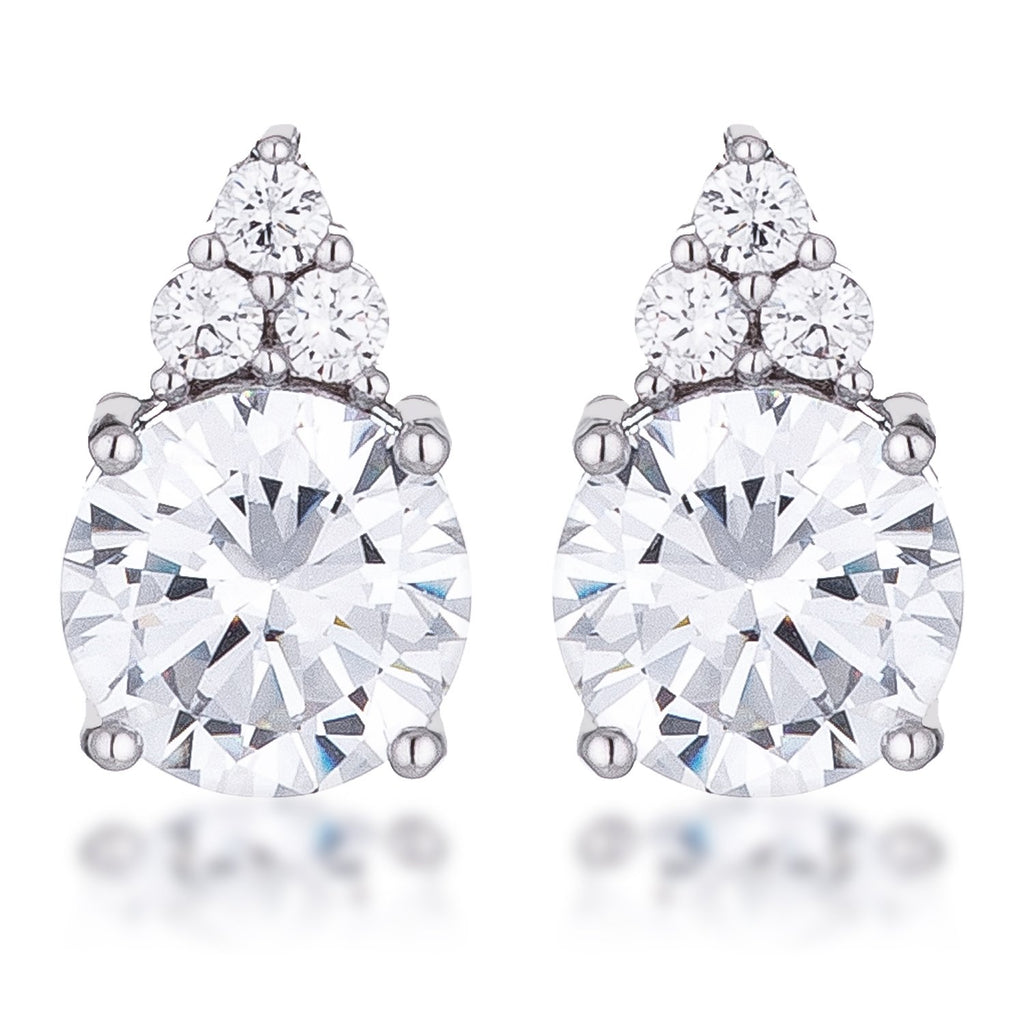 Abigail Simple 9mm Clear Round Stud Earrings | 3.1ct