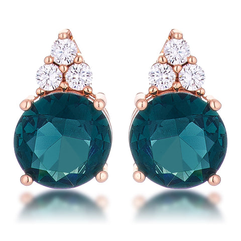 Abigail Simple 9mm Blue Green Round Stud Earrings | 3.1ct