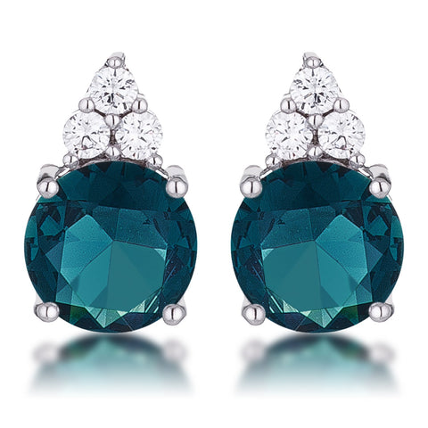 Dorina Simple 9mm Blue Green Round Stud Earrings | 3.1ct