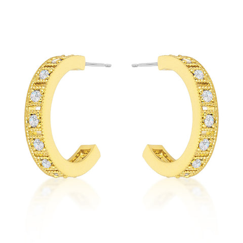 Edmee Gold Milgrain Small Hoop Earrings