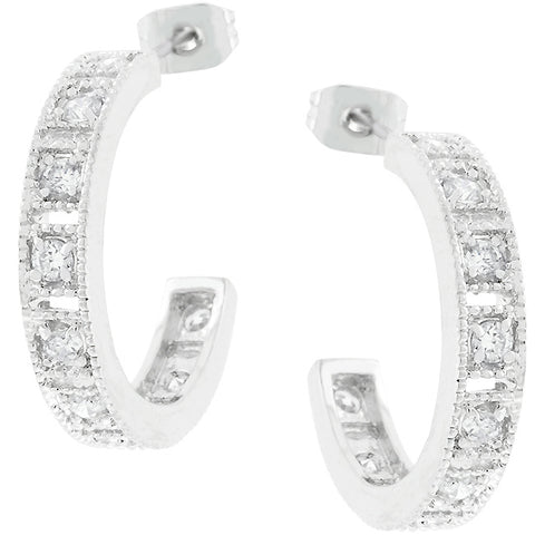 Edmee Milgrain Silvertone Hoop Earrings