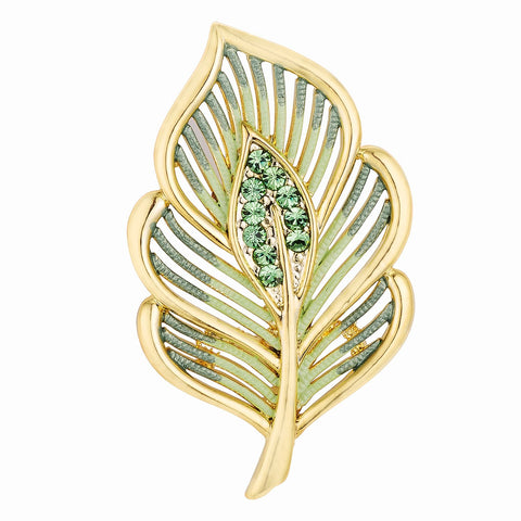 Edna 18k Gold Green Enamel Crystal Leaf Brooch