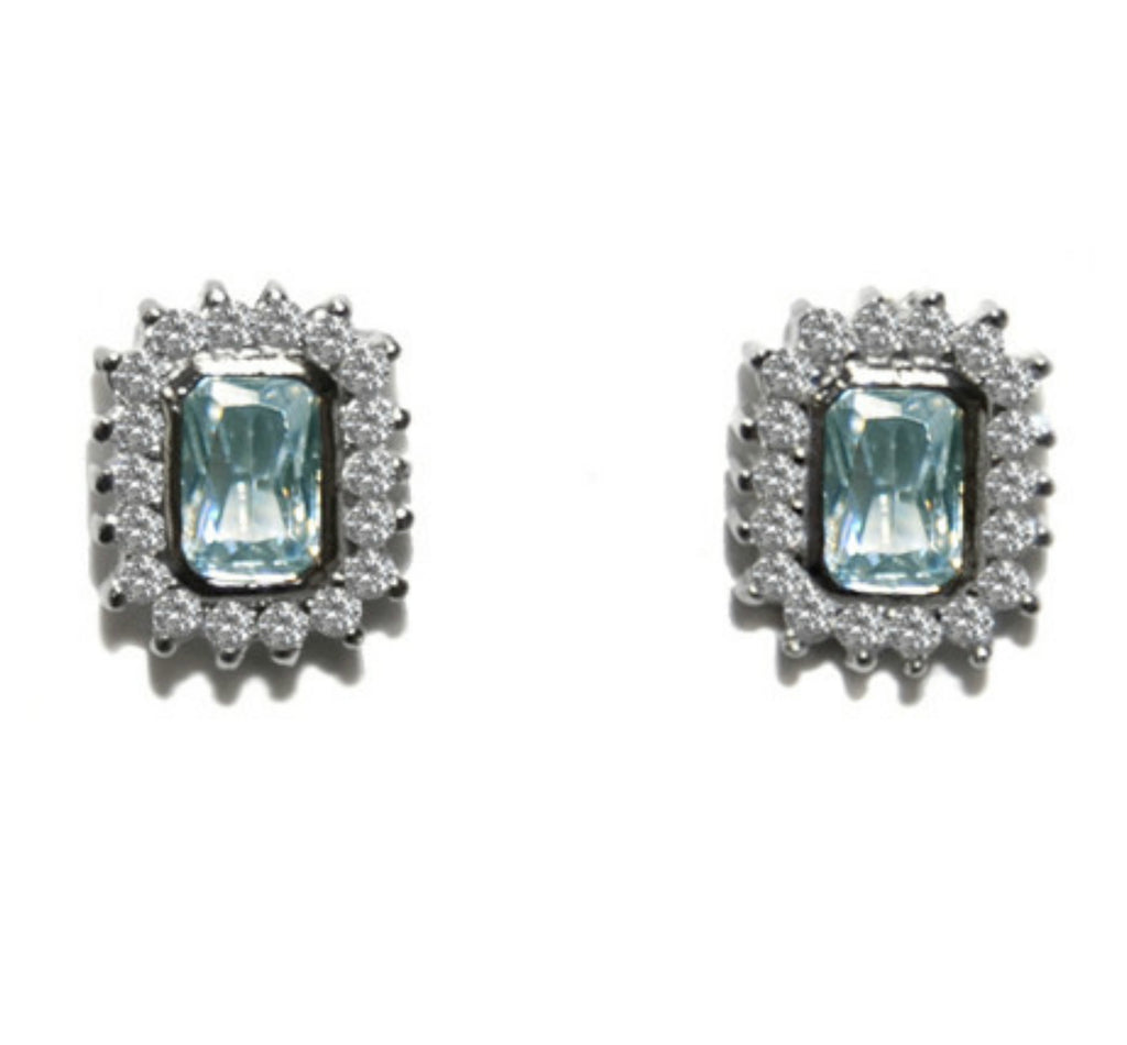 Edna Radiant Aqua Halo Silver Stud Earrings
