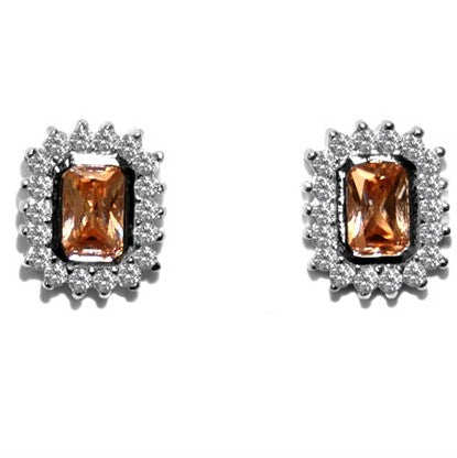 Edna Radiant Champagne Halo Stud Earrings