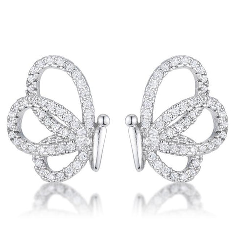 Edsel CZ Butterfly Stud Earrings | 0.5ct | Cubic Zirconia | Silver