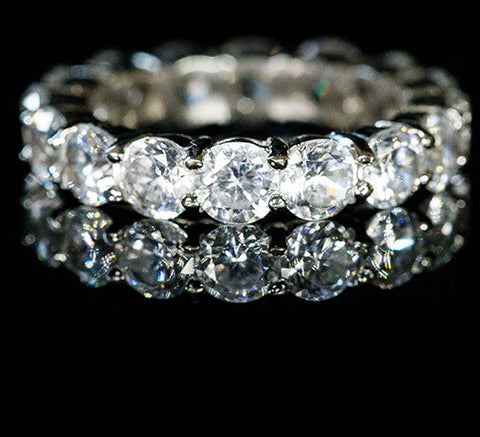 Elana Clear Diamond Eternity Stackable Ring | 8ct | Cubic Zirconia | Sterling Silver