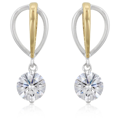 Elata Two-Tone CZ Drop Earrings | 1.5ct