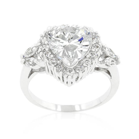 Eleacie 4(ct) Heart Halo CZ Engagement Ring | 5.5ct