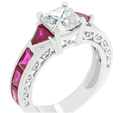 Flis Ruby Red Regal Engagement Ring | 3ct | Cubic Zirconia