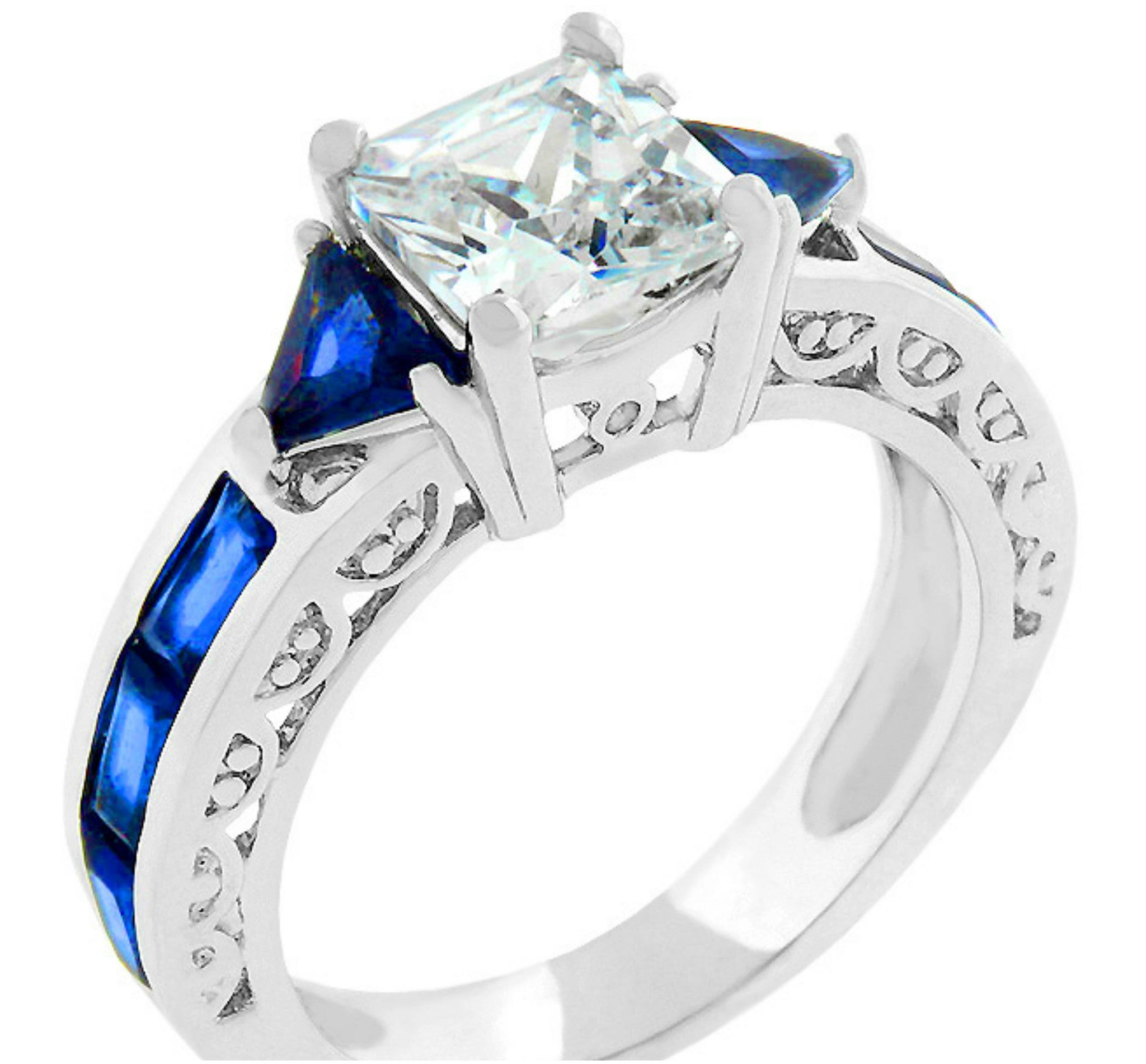 blue platinum ring wedding petite diamond engagement nile twist product rings
