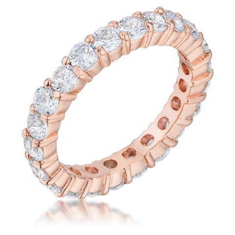 Elizabeth Clear Eternity Stackable Rose Gold Ring | 4ct