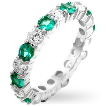 Elizabeth Emerald Green Eternity Stackable Ring | 4ct | Sterling Silver