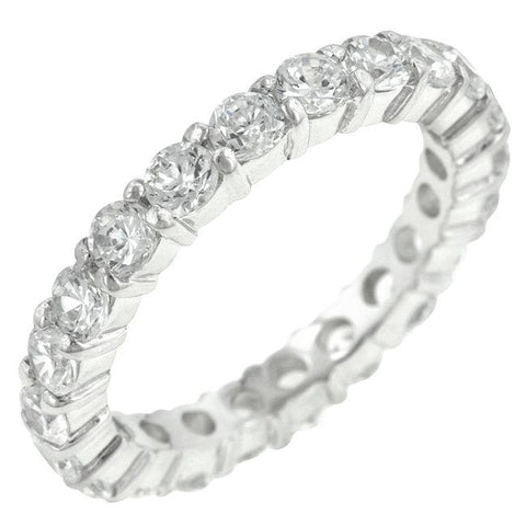 Elizabeth Clear Eternity Stackable Ring | 4ct | Cubic Zirconia | Sterling Silver - Beloved Sparkles  - 1