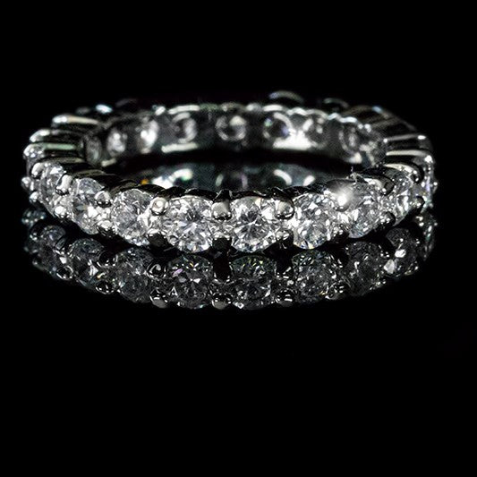 Elizabeth Round CZ Eternity Silver Ring | 4ct | Sterling Silver