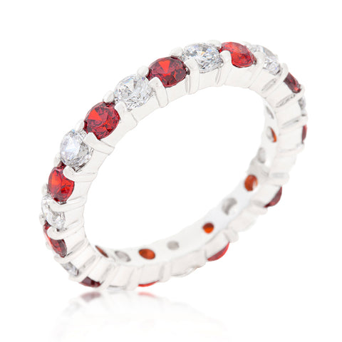 Elizabeth Garnet Red Eternity Stackable Ring | 4ct | Sterling Silver