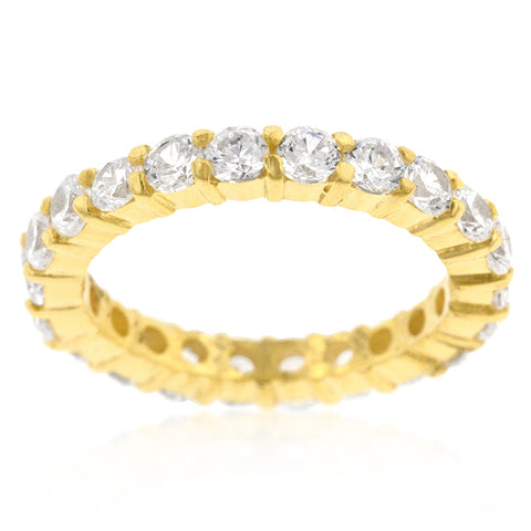 Elizabeth Clear Eternity Stackable Gold Ring | 4ct | Cubic Zirconia | 18k Gold - Beloved Sparkles  - 2
