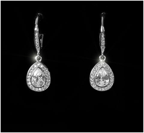 Emily Petite Pear Halo Drop Dangle Earrings | 2.5ct | Cubic Zirconia | Silver