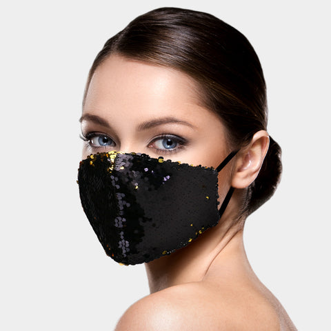 Emily Black and Gold Two Tone Sequin Fashion Mask