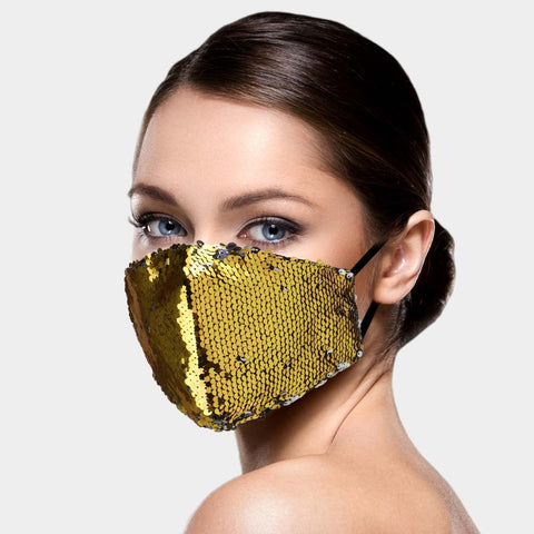 Emily Gold and Silver Two Tone Sequin Fashion Mask