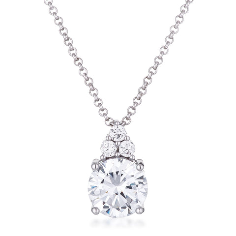 Abigail Clear 9mm Round CZ Pendant Necklace | 3.1ct