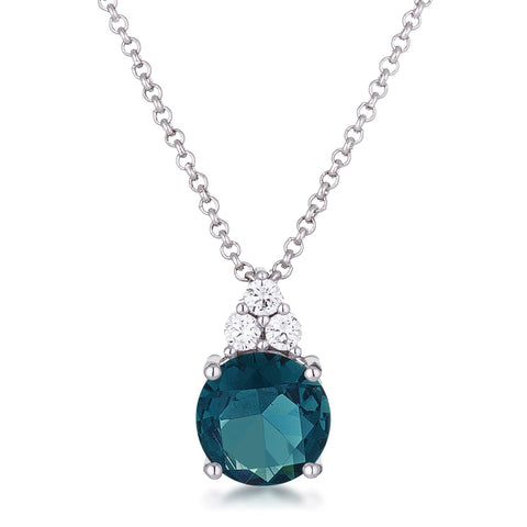 Abigail Blue Green 9mm Round CZ Pendant Necklace | 3.1ct