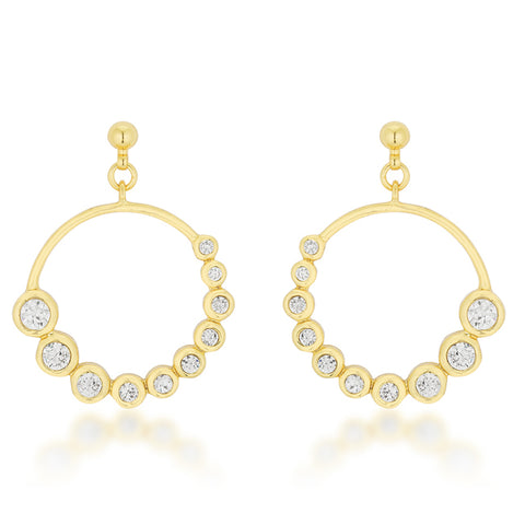 Eria Gold Graduated CZ Circle Earrings | 1ct