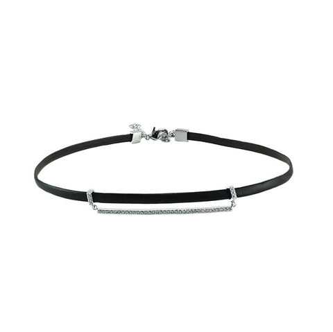 Erin CZ Bar Black Leather Choker