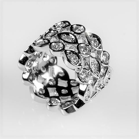 Rina Triple Roll Art Deco Eternity Anniversary Ring | 4 Carat | Cubic Zirconia