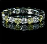 Elizabeth Canary Yellow Eternity Stackable Ring | 4 Carat | Sterling Silver | Cubic Zirconia - Beloved Sparkles  - 2