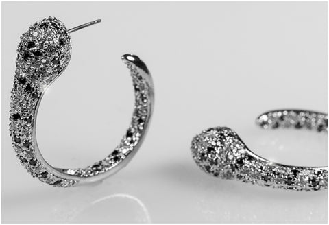 Etta 35mm Snake Hoop Black Clear Earrings | 7ct | Cubic Zirconia | Silver